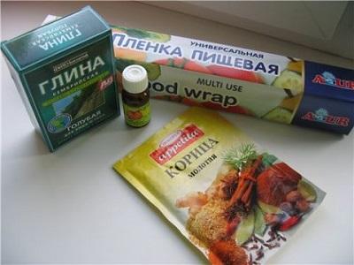 корица, глина и сода пищевая