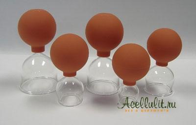 набор антицеллюлитных банок на присоске