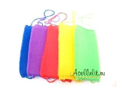 разноцветные антицеллюлитные мочалки